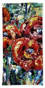 Poppy Red Flowers Bath Towel