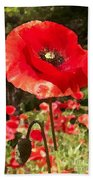 Poppy Watercolor Effect Bath Towel