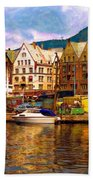 Port Life Watercolor Bath Towel