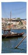 Port Wine Boats In Porto City Bath Towel