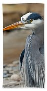 Portrait Of A Blue Heron Bath Towel