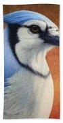Portrait Of A Bluejay Bath Towel
