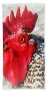 Portrait Of A Rooster Bath Towel