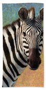 Portrait Of A Zebra - Square Bath Towel