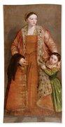 Portrait Of Countess Livia Da Porto Thiene And Her Daughter Deidamia Bath Towel