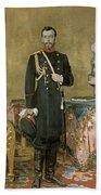 Portrait Of Emperor Nicholas II 1868-1918 1895 Oil On Canvas Bath Towel