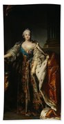 Portrait Of Empress Elizabeth, 1758 Oil On Canvas Bath Towel