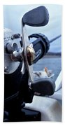 Portrait  Of Fishing Reel On Boat While Bath Towel