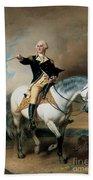 Portrait Of George Washington Taking The Salute At Trenton Hand Towel