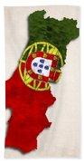 Portugal Map Art With Flag Design Bath Towel