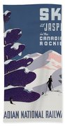 Poster Advertising The Canadian Ski Resort Jasper Bath Towel