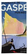 Poster Advertising The Gaspe Peninsula Quebec Canada Bath Towel