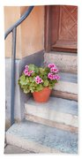 Potted Plant Front Of House Bath Towel