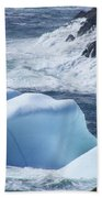 Pounding Surf With Icebergs Bath Towel