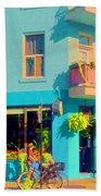 Powder Blue Corner Cafe Elses Pub Rue Roy  Montreal Sunny Summer Cafe Scene Carole Spandau Bath Towel