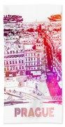 Prague Skyline Panorame Hand Towel