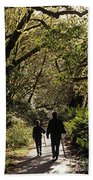 Prairie Creek Redwood State Park With Sun Breaking Through Trees Bath Towel
