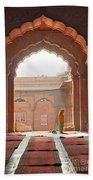 Praying At The Jama Masjid Mosque - Old Delhi Bath Towel