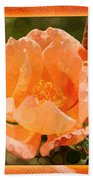 Pretty Peachy Rose Abstract Flower Bath Towel