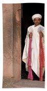 Priest At Ancient Rock Hewn Churches Of Lalibela Ethiopia Bath Towel