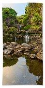 Private Pool Paradise - The Beautiful Scene Of The Seven Sacred Pools Of Maui. Bath Towel