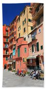 promenade and homes in Camogli Bath Towel