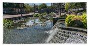 Promenade And Waterfall In Carroll Creek Park In Frederick Mary Bath Towel