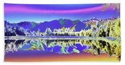 Psychedelic Lake Matheson New Zealand 2 Bath Towel
