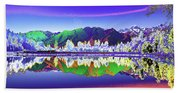 Psychedelic Lake Matheson New Zealand Bath Towel