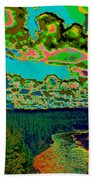 Psychedelic Skyline Over Spokane River #2 Bath Towel