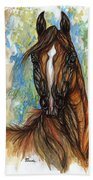 Psychodelic Chestnut Horse Original Painting Bath Towel