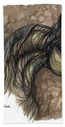 Psychodelic Grey Horse Original Painting Bath Towel