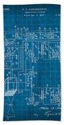 Pt Farnsworth Television Patent Blueprint 1930 Bath Towel
