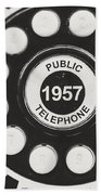 Public Telephone 1957 In Black And White Retro Bath Towel