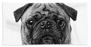 Pug Dog Black And White Bath Towel