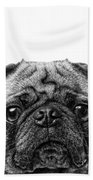 Pug Dog Square Format Bath Towel
