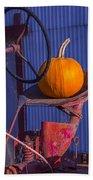 Pumpkin On Tractor Seat Bath Towel