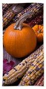 Pumpkins And Corn Bath Towel