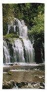 Purakaunui Falls And Tropical Bath Towel