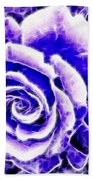 Purple And Blue Rose Expressive Brushstrokes Bath Towel