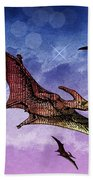 Purple And Green Ptreodactyls Soaring In The Sky Bath Towel
