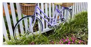 Purple Bicycle And Flowers Bath Towel