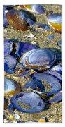 Purple Clam Shells On A Beach Bath Towel