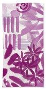 Purple Garden - Contemporary Abstract Watercolor Painting Bath Towel