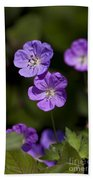 Purple Geranium Flowers Bath Towel