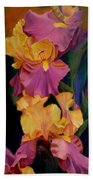 Purple Gold Irises  Bath Towel