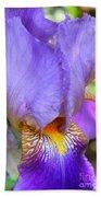 Purple Iris Macro Bath Towel