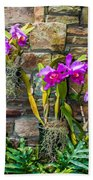 Purple Orchids With Cultured Stone Background Bath Towel by Alex Grichenko