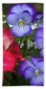 Purple Pansy Flowers By Line Gagne Bath Towel