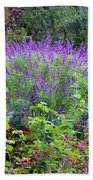 Purple Salvia In The Garden Bath Towel